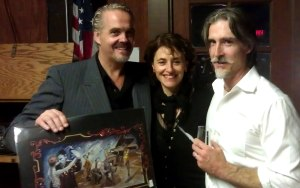The artist, W. Hudson Temples with Oscar Casas and Ana Miguel.