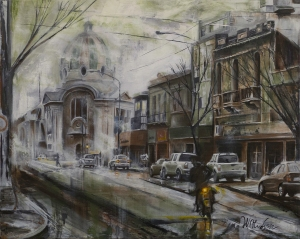 Oil Painting of the train station, ferrocarril, in La Plata, Argentina